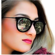 Óculos Rb4171 Erika Velvet Veludo Preto Lentes Pratas Espelh