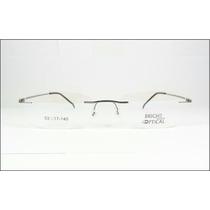Armação Grafite Oculos Grau Titanium Dobradiça Sem Aro 569