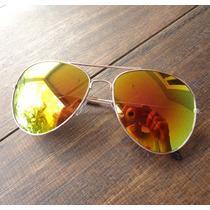 Oculos Aviador Espelhado Amarelo Feminino Masculino Proteçao