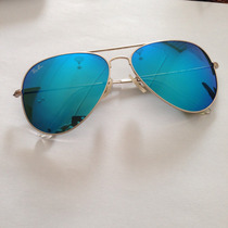 Óculos Ray Ban Aviador 3025 Dourado Espelhado Azul Rb 3026