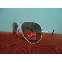 Óculos De Sol Aviador 3025 Branco Lentes Marrom