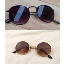 Óculos Sol Redondo Preto Masculino Beatles Proteção Uv400