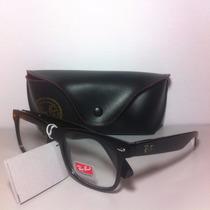 Armação Wayfarer Preta Tam: P + Case Óculos De Grau Unissex