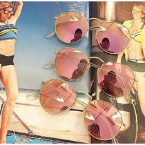 Óculos De Sol Rb3447 Round Lente Rosa Espelhado Cristal