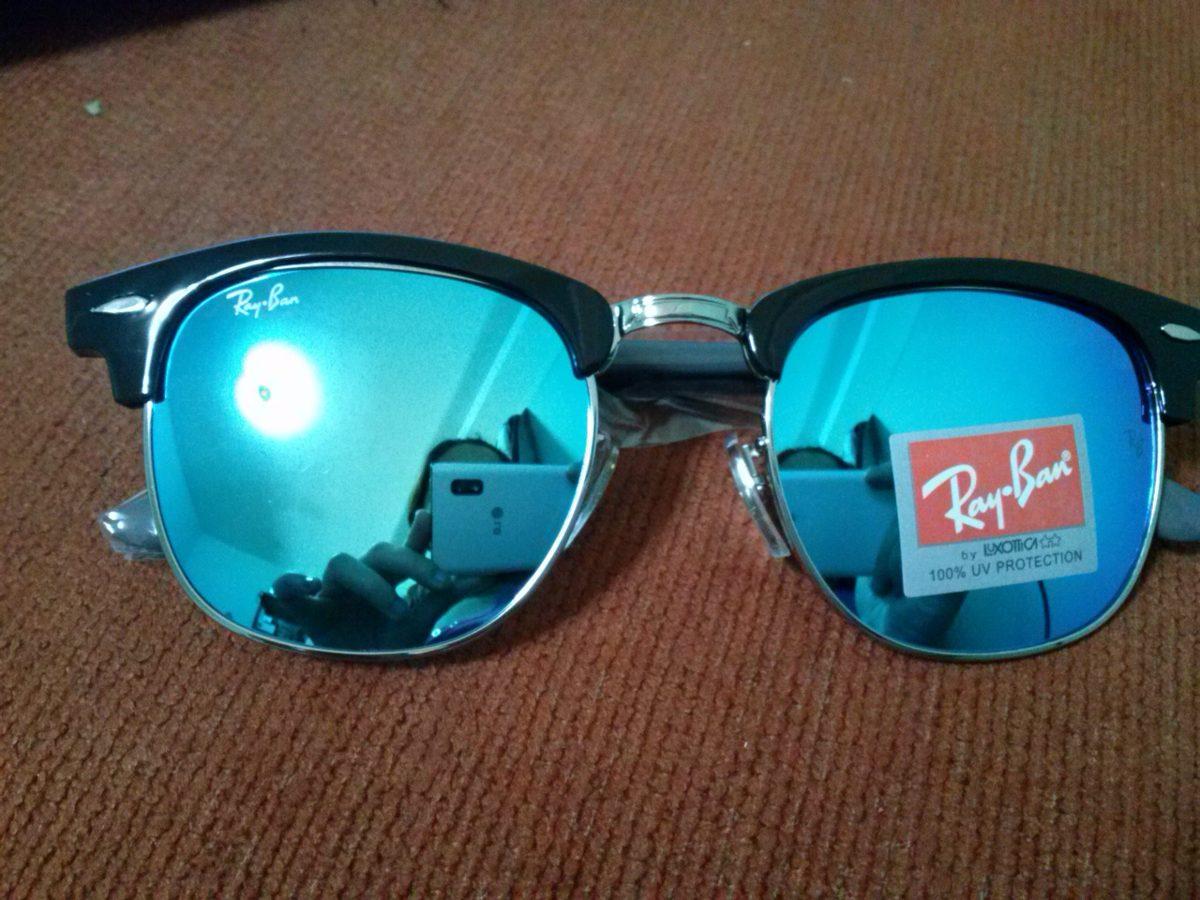 óculos No Estilo Ray Ban Club Master Dourado Com Preto Fosco ... d6f462faac