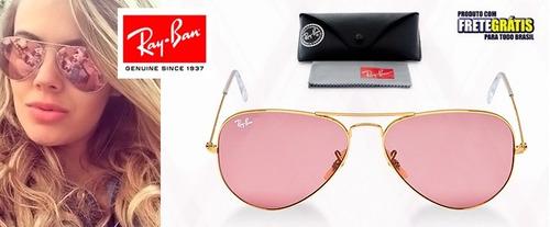 ray ban aviator rosa espelhado