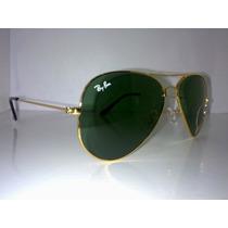 Ray Ban Aviador 3025 (m) Armação Dourado Lentes Verde G15