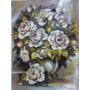 Quadro - Pintura Em Óleo Sobre Tela - Rosas Brancas