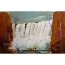 Tela Quadro Pintura Paisagem Cataratas Do Iguacu Natureza