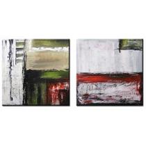 Conjunto De 2 Quadros De 60x60 Cm Pintura Óleo Tela Abstrato