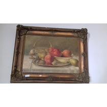Antigo Quadro Óleo Sobre Tela - Frutas - 1937