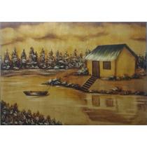 Pintura Óleo Sobre Tela-paisagem Dourada(70x50cm)sem Moldura
