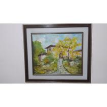 Quadro Pintura Óleo Sobre Tela - Casas E Paisagens