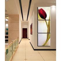 Conjunto 3 Quadros 60x60 Cm Pintura Tela Tulipa