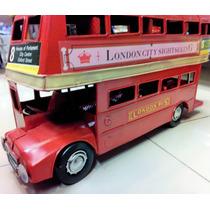 Ônibus De Londres Em Metal Decoração Enfeite Retrô 32 Cm