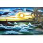 Pintura Óleo Sobre Tela Mar - Pintado À Mão 74x1.10