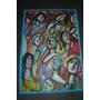 Pintura - Óleo Sobre Cartolina Azul - Rostos Vol. 51