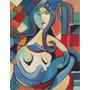 Quadro Mulher Com Face Azul. Óleo Sobre Tela 30 X 40 Cm