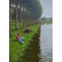Quadro Pintura Óleo S/ Eucatex Paisagem 25x35cm Frete Grátis