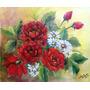 Pintura Quadro Óleo Sobre Tela Vaso De Flores