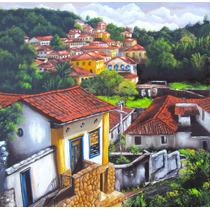 Pintura Óleo Sobre Tela Ladeira De Ouro Preto Original 70x70