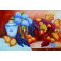Quadro Pintura Em Tela - Natureza Morta Frutas E Hortênsias