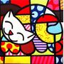 Quadro Pintura Em Tela - Gato Feliz - Romero Britto