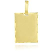Pingente De Ouro 18k Placa Retangular Masculina / Feminina