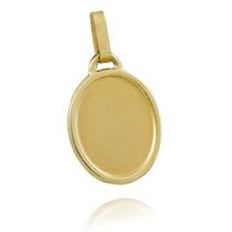 Pingente De Ouro 18k Placa Oval - Fazemos Gravação