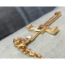 Crucifixo Com Diamantes + Cordão Cartier Oca 25 Gramas.