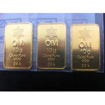 Barra 10 Gramas De Ouro Puro 24k Certificada