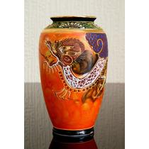 Antigo Vaso Chinês Em Porcelana Pintada À Mão