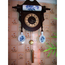 Relógio Zimmermann Em Imbuía E Bronze C/detalhes Em Louça