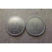 2 Moedas Japonesas De 1 Yen - Aluminio