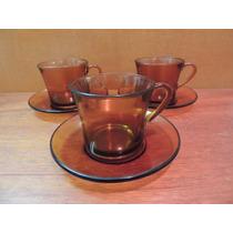 3 Xícaras De Chá Com Pires Duralex Cor Caramelo