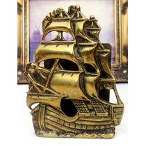 Antiga Caravela Porta-cartas Ou Suporte De Livros Em Bronze.