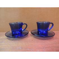 Par Xícaras Para Café Com Pires Duralex Cor Azul