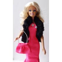 Boneca Barbie Loira Vestido De Festa Rosa E Bolsa