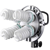 Iluminador Soquete + 4 Lâmpadas + Sombrinha Branca Difusora