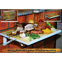 Mesa Retrátil Para Churrasqueira - Acompanha Tábua De Carne!