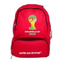 Mochila Brasil Oficial Fifa Copa 2014 Vermelha Taça