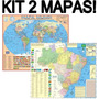 Kit 2 Mapas Mundi + Brasil Escolar 2015 - 120cm X 09cm