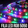 Kit Fita De Led Rgb 5050 5 Metros Prova Dagua Fonte+controle
