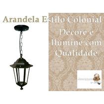 Luminária Pendente D Teto Colonial Preto Em Aluminio E Vidro