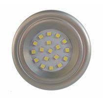 Spot Prata Redondo De Embutir P/ Móveis 18 Leds 1w Luminária