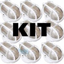 Kit 10 Luminária Externa Tartaruga De Vidro + Lampada Led