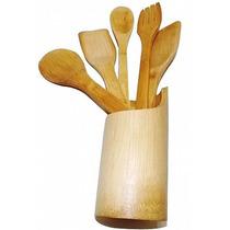 Kit De Talheres Em Bambu Com 6 Pçs