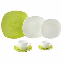 Jogo Jantar Chá Café Porcelana Verde 42 Peças 8003