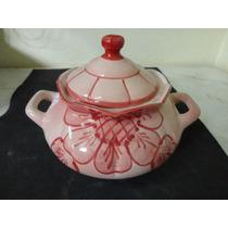 #8424# Sopeira Em Porcelana Vermelha Decorada Ibá!!!