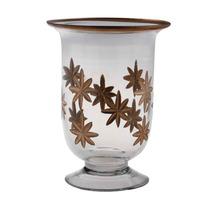 Castiçal De Vidro Com Flores Em Marrom Pequeno